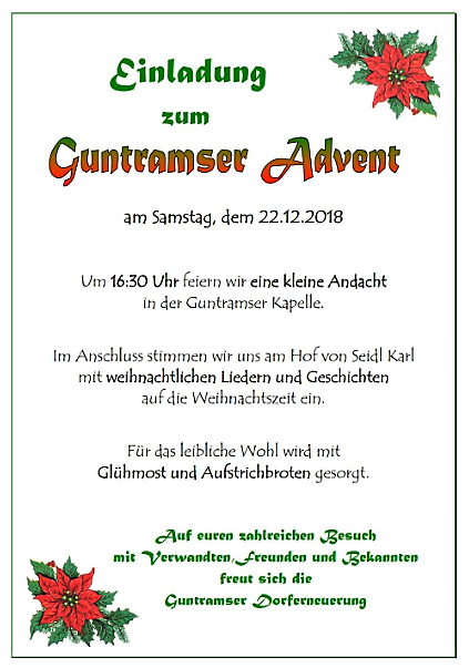 Einladung Guntramser Advent 2018